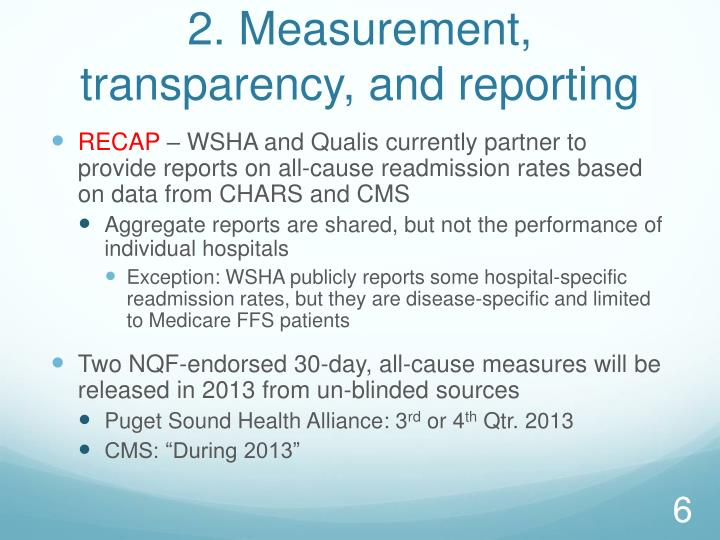 2. Measurement, transparency, and reporting