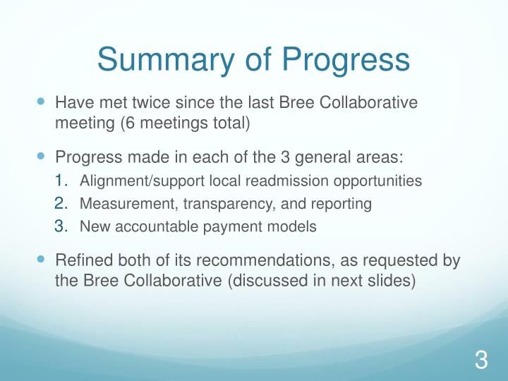 Summary of Progress