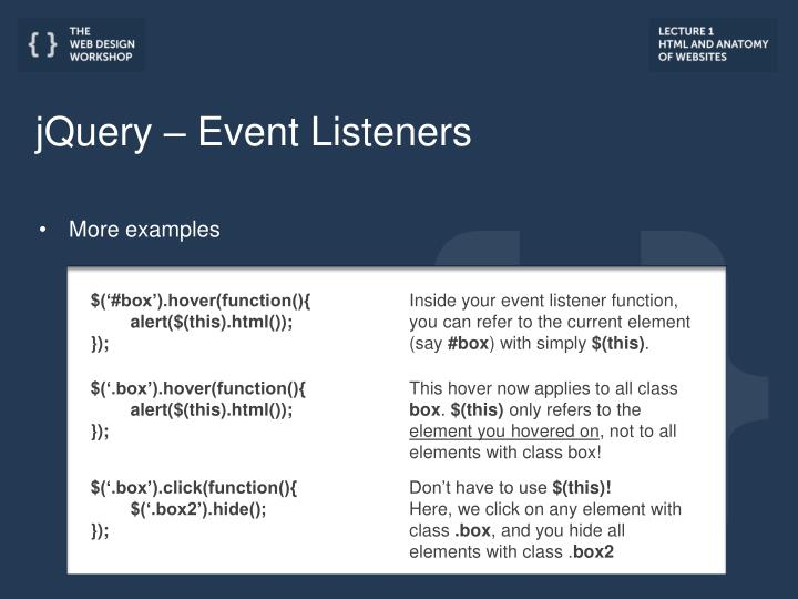 jQuery – Event Listeners
