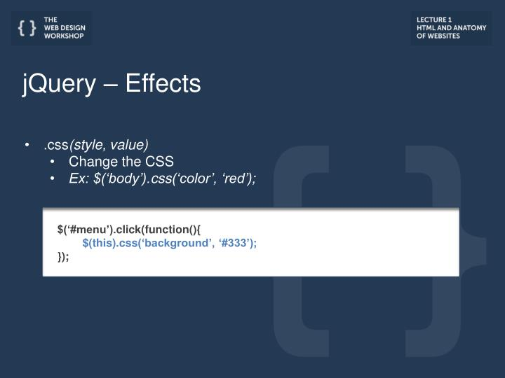 jQuery – Effects