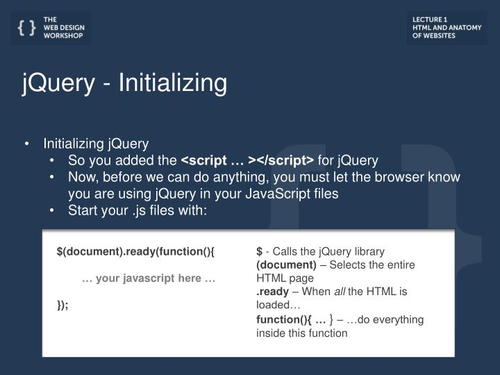 jQuery - Initializing
