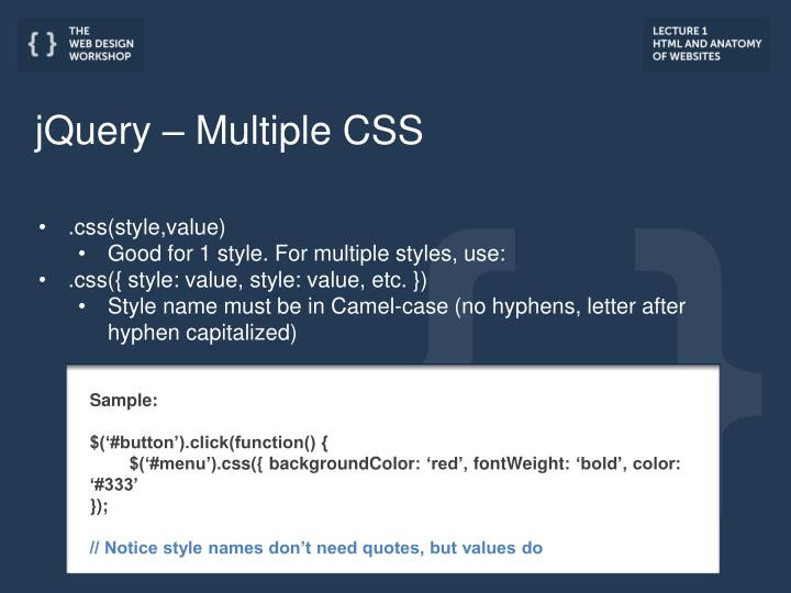 jQuery – Multiple CSS