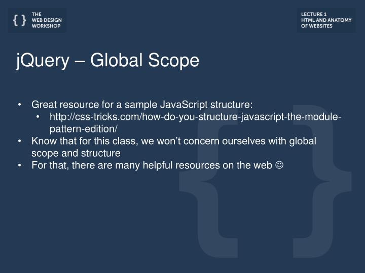 jQuery – Global Scope