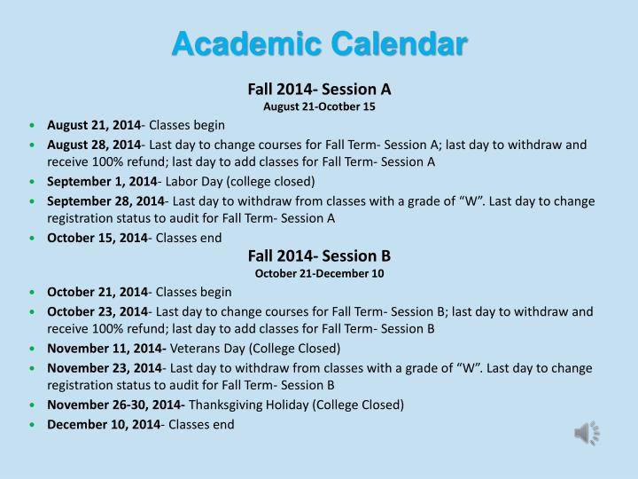 Fall 2014- Session A