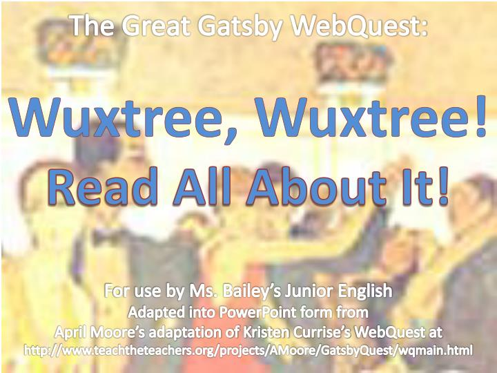 The Great Gatsby WebQuest:
