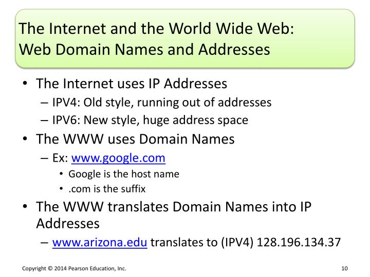 The Internet and the World Wide Web: