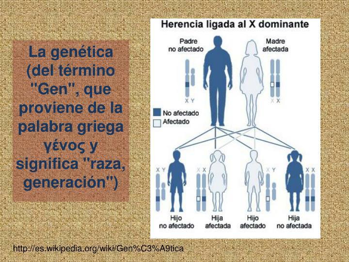 """La gentica (del trmino """"Gen"""", que proviene de la palabra griega  y significa """"raza, generacin"""")"""
