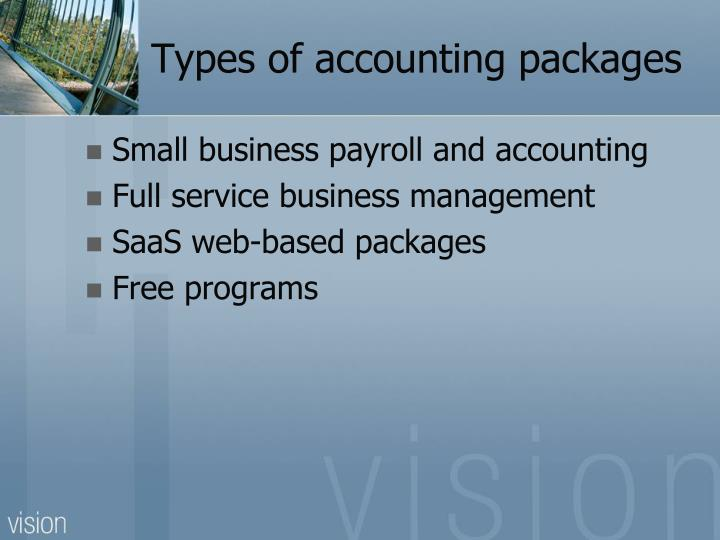 Types of accounting packages
