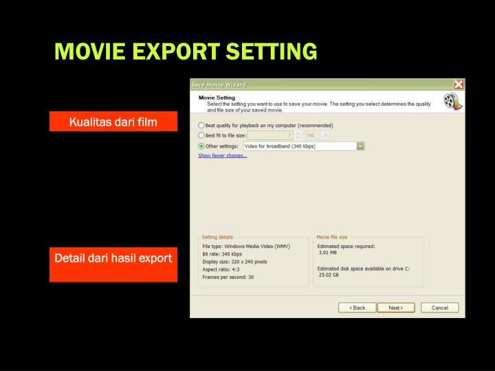 MOVIE EXPORT SETTING