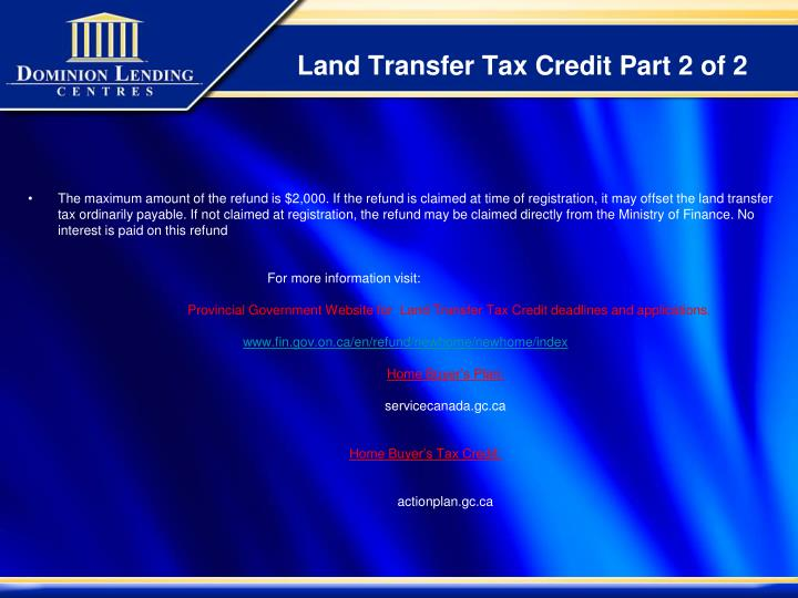 Land Transfer Tax Credit Part 2 of 2