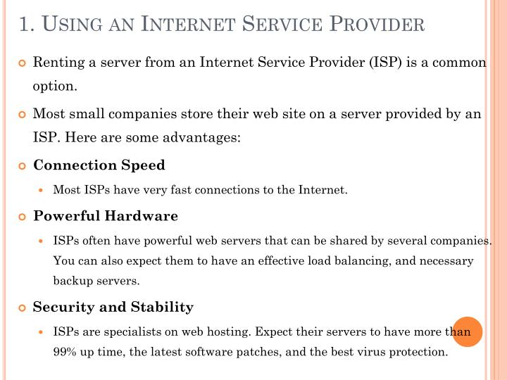 1. Using an Internet Service Provider