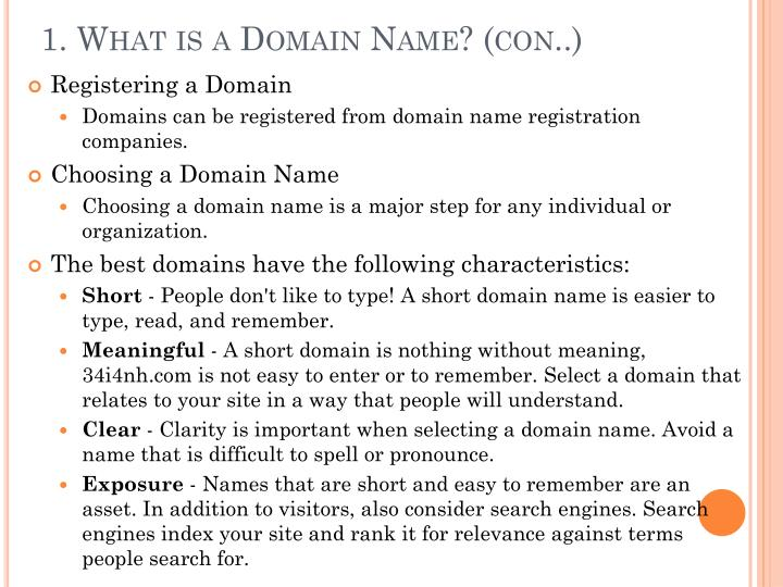 1. What is a Domain Name? (con..)