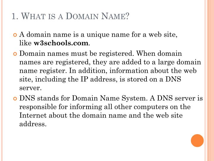 1. What is a Domain Name?