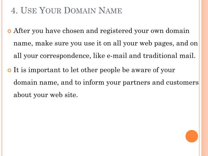 4. Use Your Domain Name