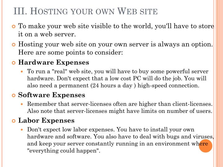 III. Hosting your own Web site