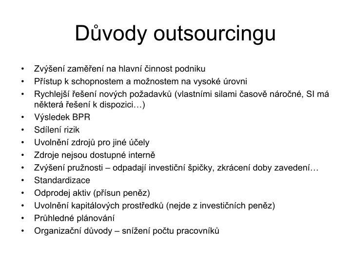 Důvody outsourcingu