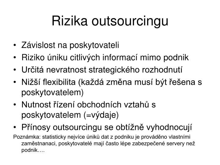 Rizika outsourcingu