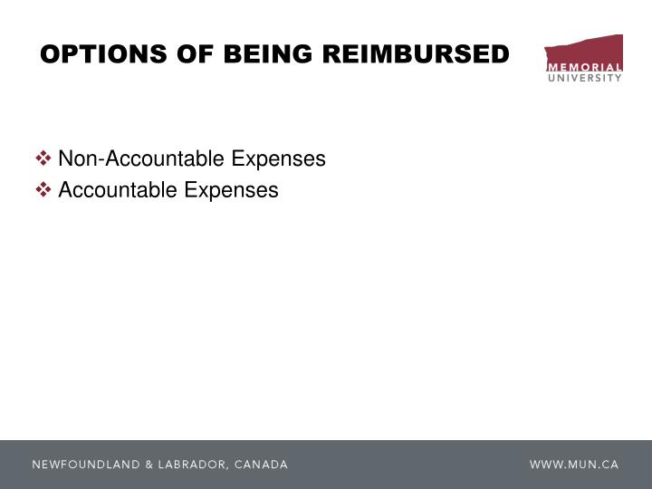 OPTIONS OF BEING REIMBURSED