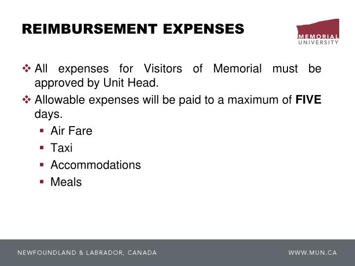 REIMBURSEMENT EXPENSES