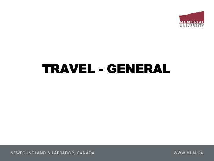 TRAVEL - GENERAL