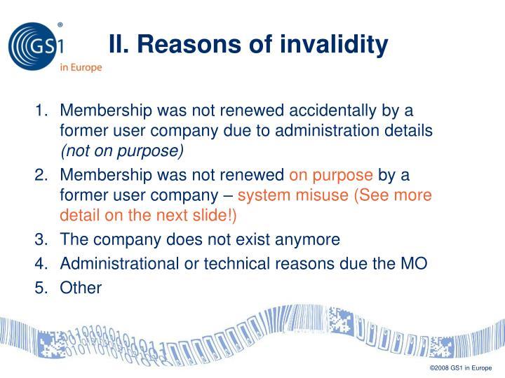II. Reasons of invalidity