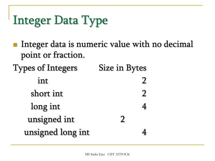 Integer Data Type