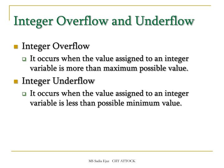 Integer Overflow and Underflow