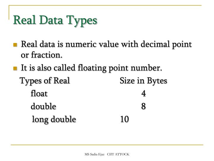 Real Data Types