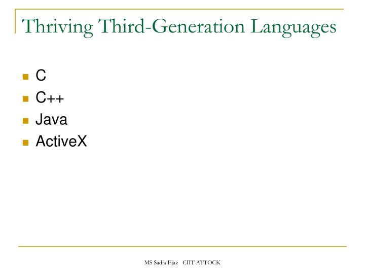 Thriving Third-Generation Languages