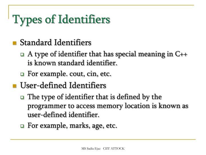 Types of Identifiers