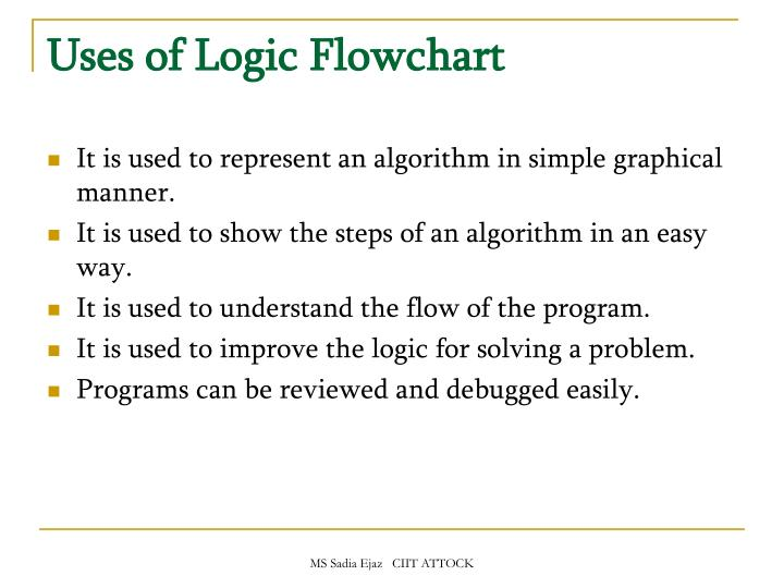 Uses of Logic Flowchart