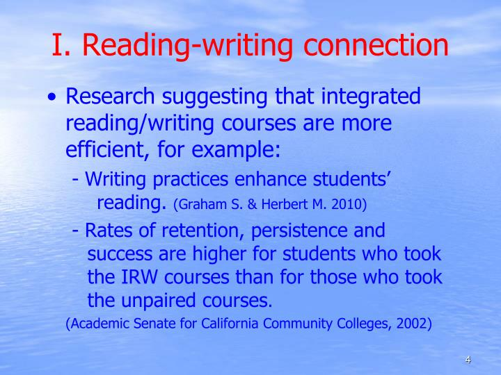 I. Reading-writing connection