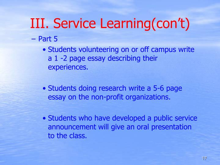 III. Service Learning(con't)