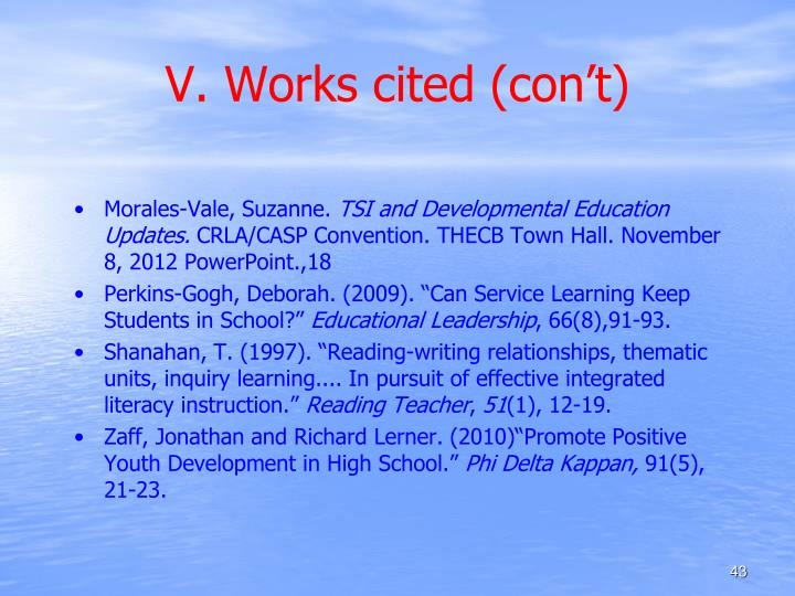 V. Works cited (