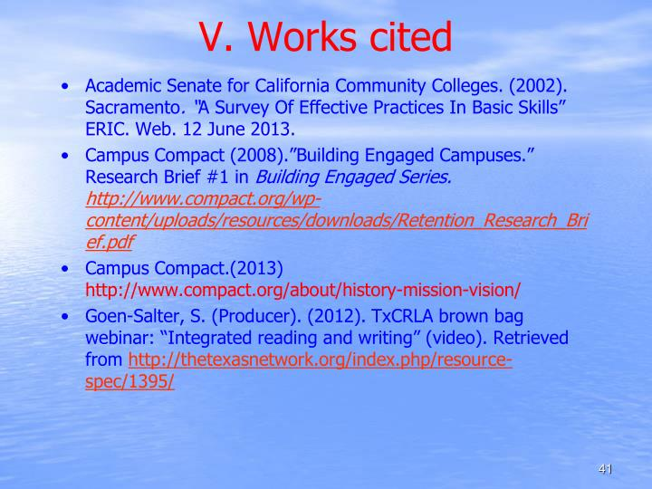 V. Works cited