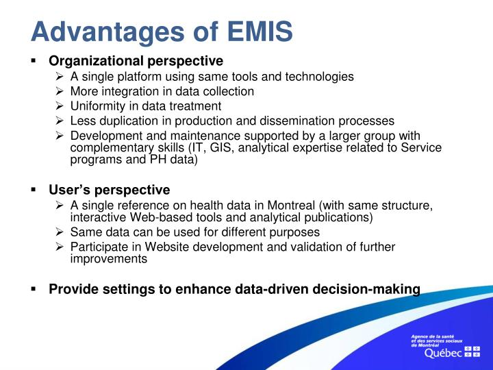 Advantages of EMIS