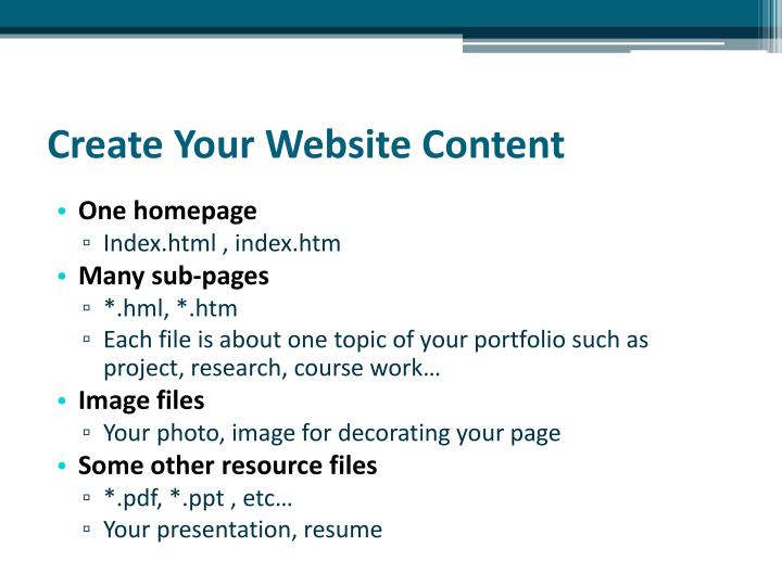 Create Your Website Content