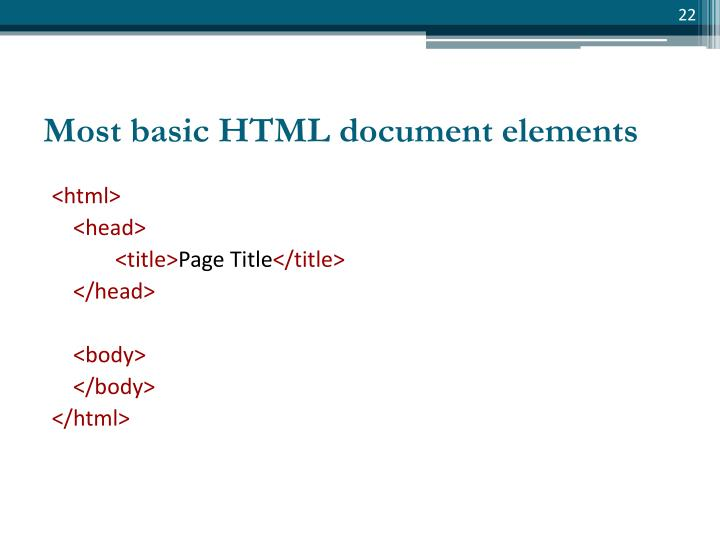Most basic HTML document elements