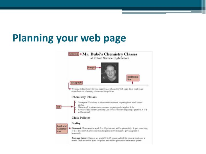 Planning your web page