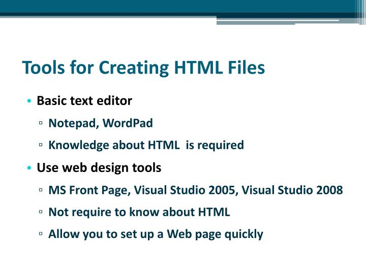 Tools for Creating HTML Files