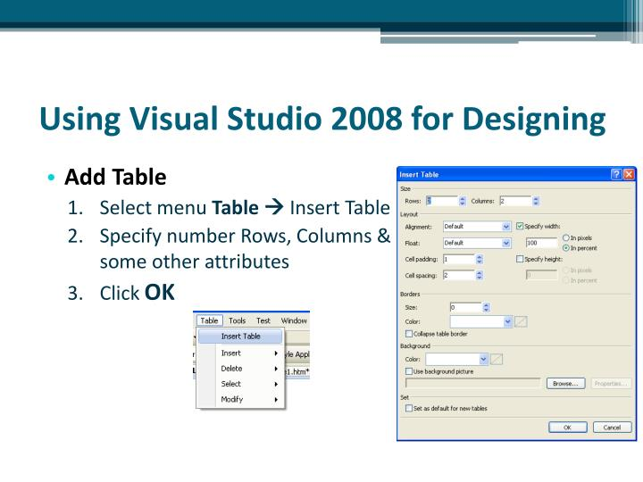 Using Visual Studio 2008 for Designing