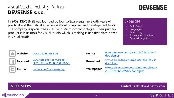 Visual studio industry partner devsense s r o