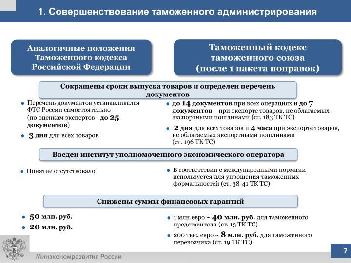 1. Совершенствование таможенного администрирования
