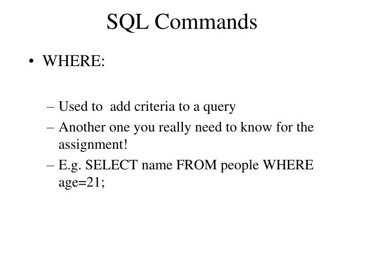 SQL Commands