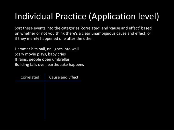 Individual Practice (Application level)