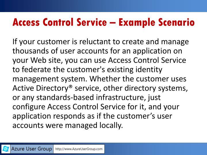 Access Control Service – Example Scenario