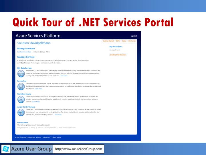 Quick Tour of .NET Services Portal