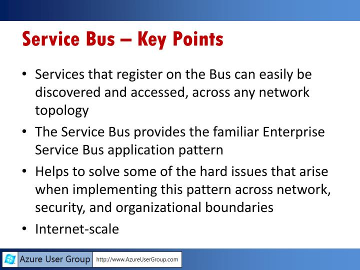 Service Bus – Key Points