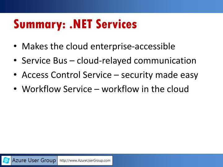 Summary: .NET Services
