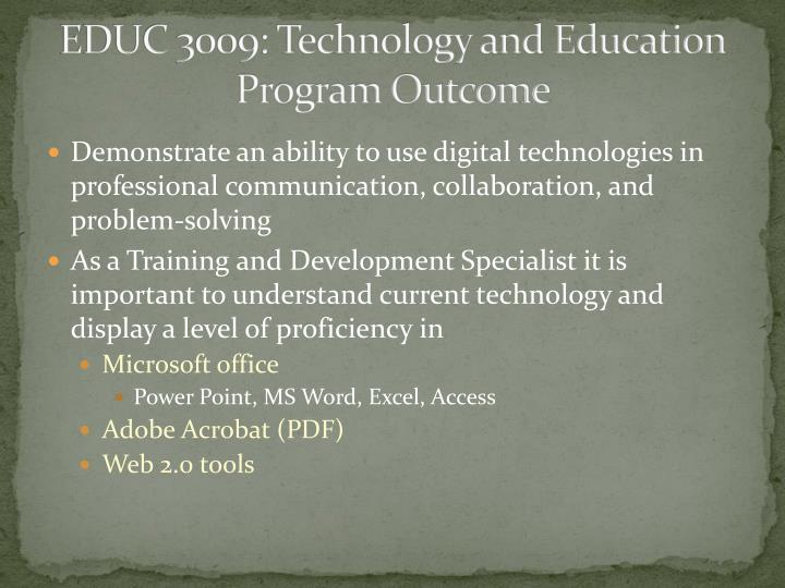 EDUC 3009: Technology and Education